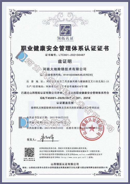 大地除锈公司职业健康安全管理体系认证证书
